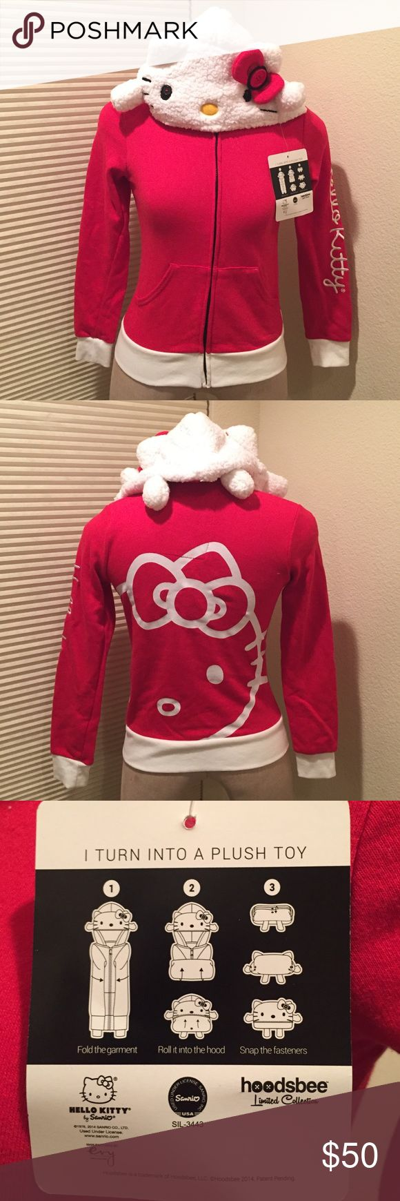 Hello kitty jacket Cute hello kitty jacket that turns into a plush toy! Sanrio Jackets & Coats