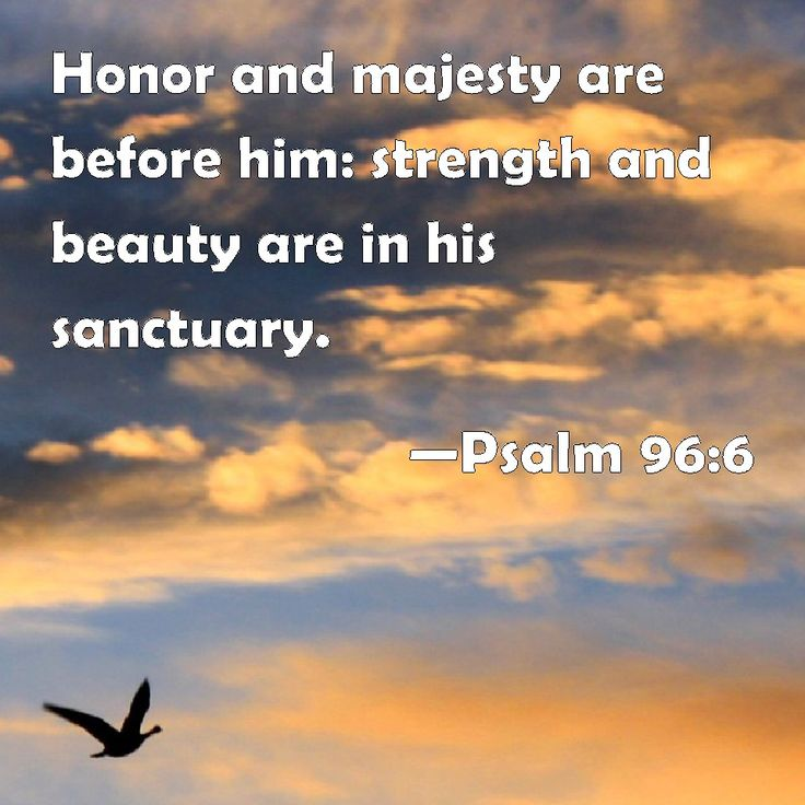 Psalm 96:6 Honor and majesty are before him: strength and beauty are in his sanctuary.
