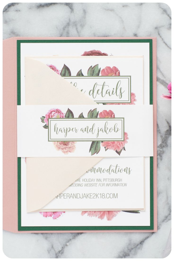 A beautiful botanical wedding invitation, perfect for a garden wedding! Includes a reply card & additional information enclosure.