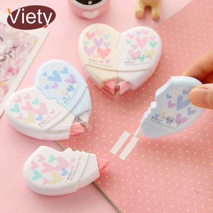 2 material escolar pcs / pair Love Heart correction tape kawaii office supplies ...