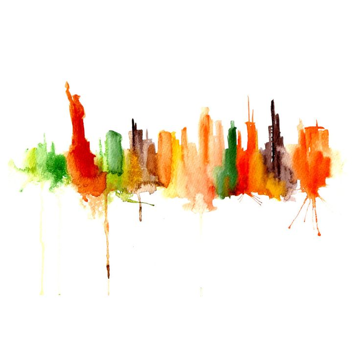 New York city abstract watercolor painting cityscape Art print - poster 13x19 (A3) by Elena Romanova PortLove