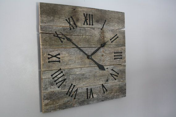 large rustic wall clock gray washed color washed wood repurposed wood rustic walls