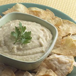 No count hummus (humous) tin of chickpeas, garlic cloves, lemon juice and low fat natural yogurt blended.
