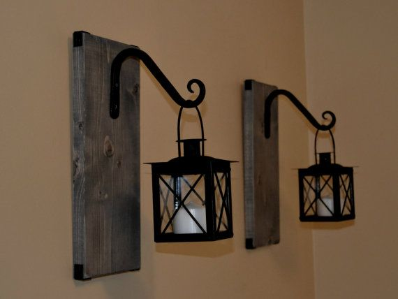 Hanging Candle Lantern Pair, Wood Lantern, Lantern Sconce, Wrought Iron  Sconce, Rustic