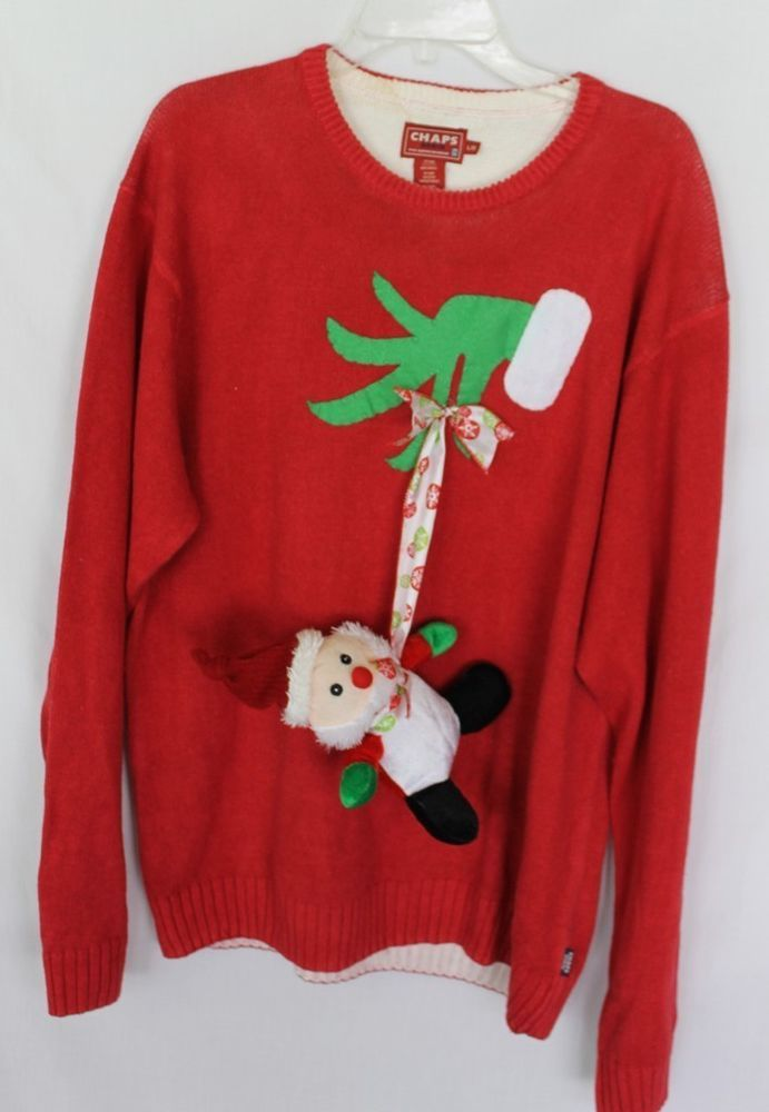 Deb's Handmade Tacky Ugly Funny Christmas Sweater Men's L Large Naughty Grinch #CHaps #Crewneck