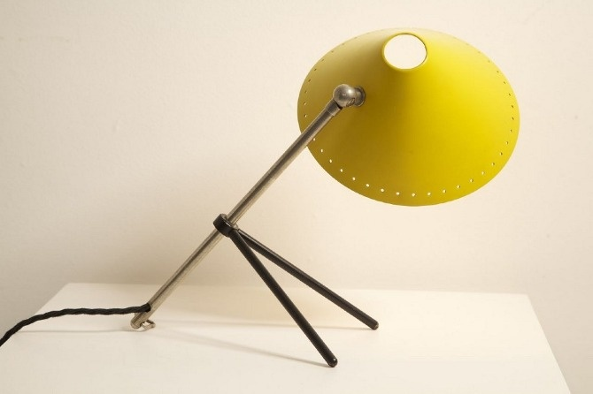 Yellow Pinnochio lamp  Designer: H.Th.J.A. Busquet for Hala Zeist  Netherlands 1950's