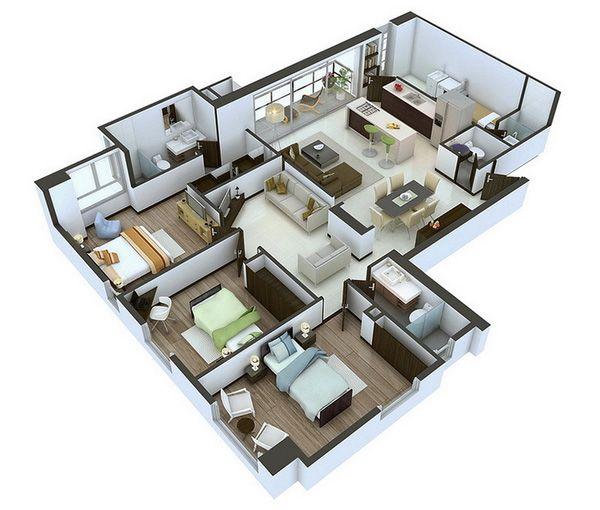 """(Dân trí) - Các mẫu thiết kế nhà có 3 phòng ngủ trên mô hình 3D dưới đây sẽ cho bạn một cái nhìn thực tế nhất về """"tổ ấm"""" tương lai của gia đình mình!"""