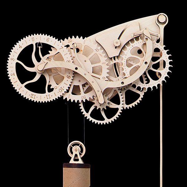Wooden Mechanical Clock Kit | ThinkGeek