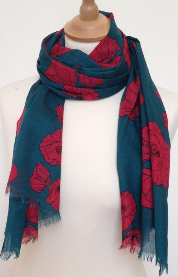 Red poppy scarf  red poppies scarf  green scarf  red floral