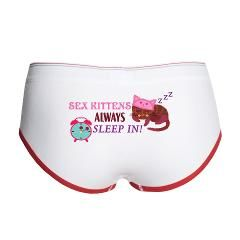 A kitten wearing a nightcap accentuates these cute undies! Don't let him give you grief for sleeping late, it's a given for a member of the feline family after all!! www.cafepress.com/playtimeinc