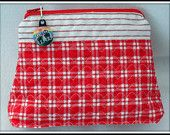 RED and WHITE - AUTHENTIC DUTCH FABRIC FROM THE NETHERLANDS  COSMETIC BAG - Fabric quilted by me and discounted by 10% now until April 30th, 2014