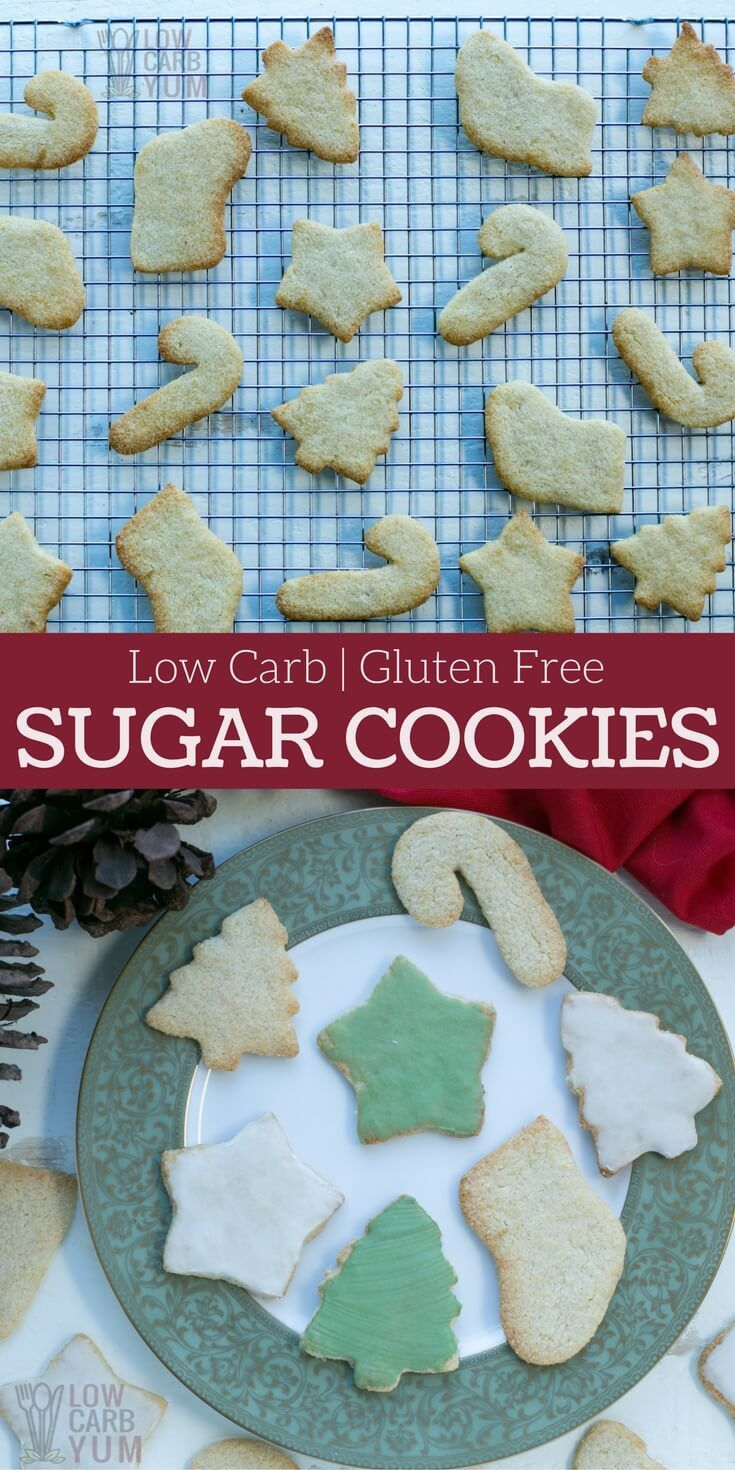Simple low carb keto sugar cookies are perfect for any holiday or special occasion. These sugar-free and gluten-free treats are sure to be loved by all. #keto #lowcarb #glutenfree #sugarfree   LowCarbYum.com