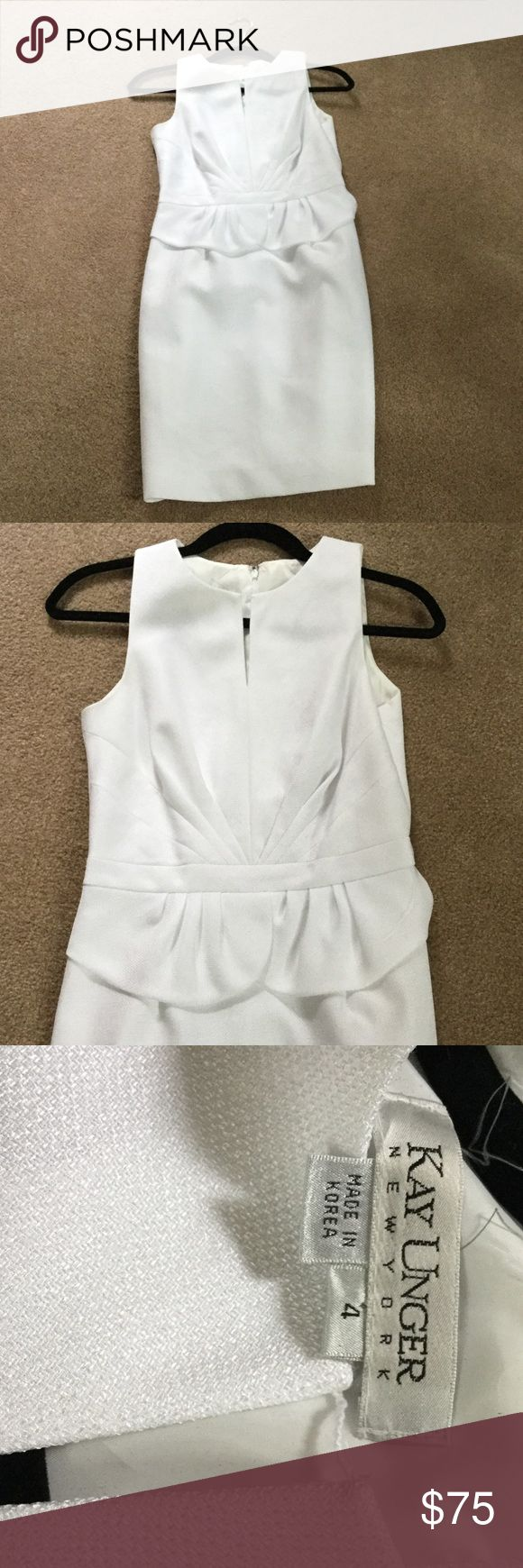Kay Unger White Dress Comes just below the knee. Great condition. Worn a few times. Kay Unger Dresses Midi