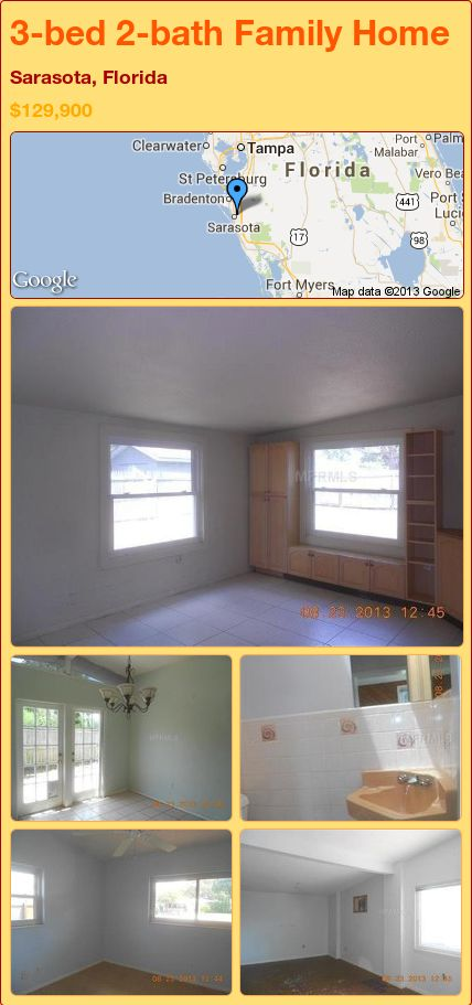 3-bed 2-bath Family Home in Sarasota, Florida ►$129,900 #PropertyForSale #RealEstate #Florida http://florida-magic.com/properties/21904-family-home-for-sale-in-sarasota-florida-with-3-bedroom-2-bathroom