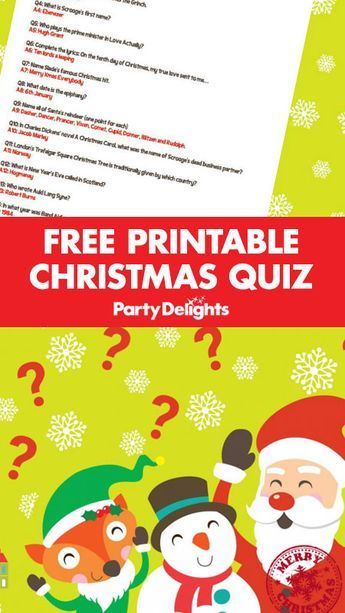 Download our free printable Christmas quiz questions and answer sheets for a fun Christmas activity. A fun Christmas party game ideas for all ages.