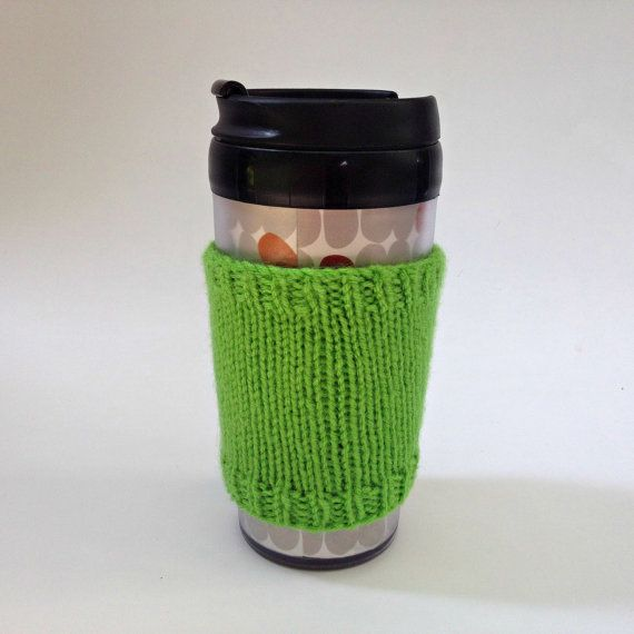 Coffee cozies, coffee cup sleeve, knit coffee cozy, knitted coffee cozy, coffee accessories, green coffee mug, coffee sleeve, coffee cozy on Etsy, $15.00 CAD