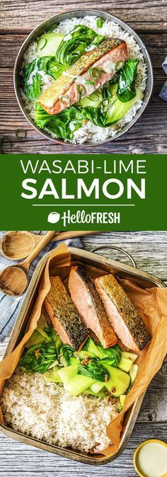 """Healthy salmon recipe with a wasabi lime dressing and bok choy 