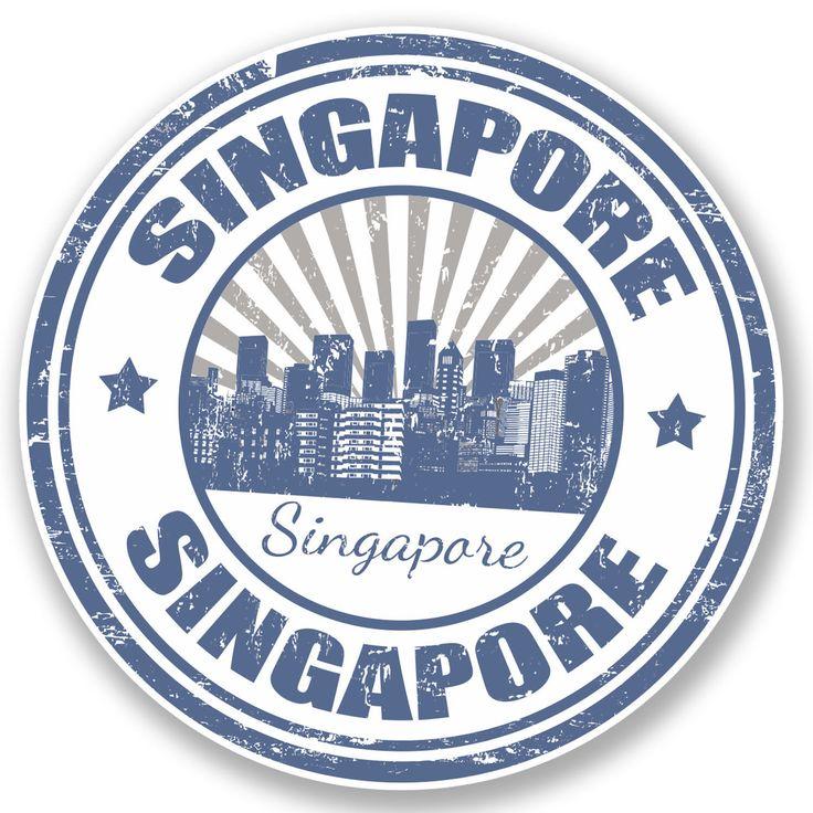 2 X Singapore Vinyl Sticker Decal Ipad Laptop Travel