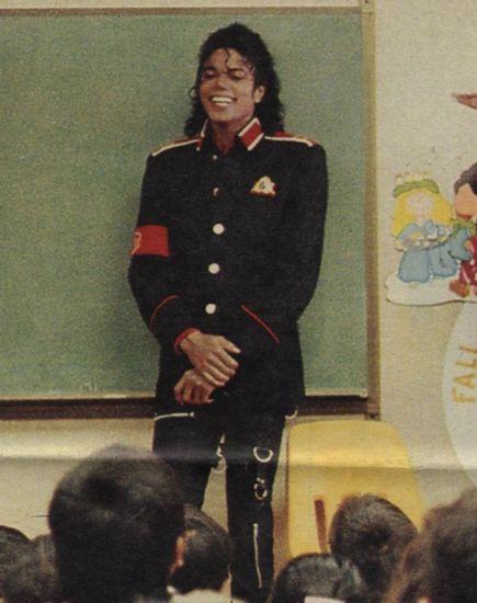 Michael Jackson in a school room