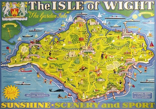 Isle of Wight Pictorial Map Vintage BR Travel poster print by