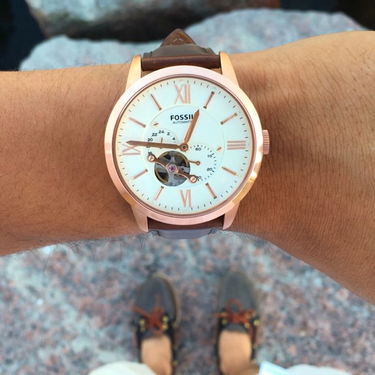 Mens Fossil Automatic watch in rose gold and brown weather all straps #FossilStyle #Fromwhereistand #FossilPartners