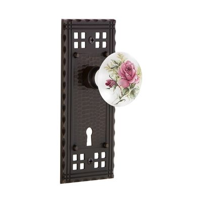 Nostalgic Warehouse Craftsman Plate Interior Mortise Lock with Keyhole and Porcelain Knob