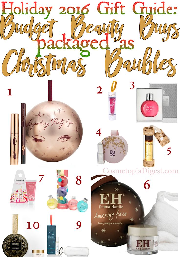 10 budget beauty buys that are packaged as Christmas ornaments.