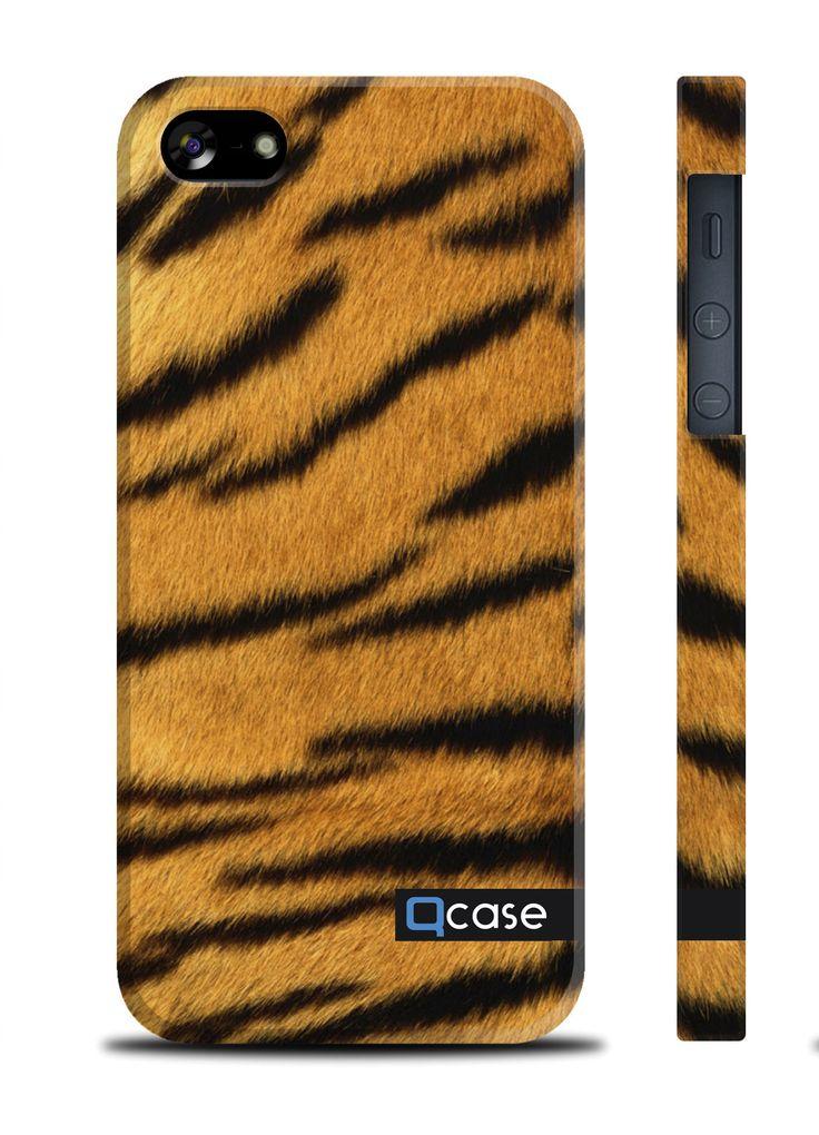 Чехол QCase для iPhone 5 | 5S Tiger Skin Тигр (пластиковый чехол, защитная пленка, заставка) купить в интернет-магазине BeautyApple.ru.