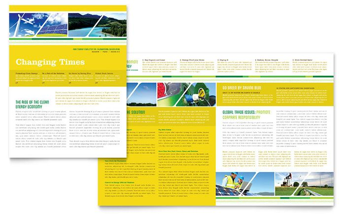 Environmental Conservation Newsletter Design Template by - ms word newsletter templates