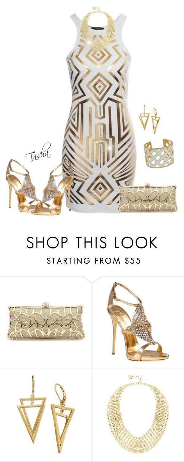 """""""White & Gold"""" by pkoff ❤ liked on Polyvore featuring Jane Norman, Giuseppe Zanotti, BCBGMAXAZRIA and Kenneth Jay Lane"""