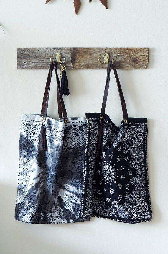 Bandana Tote Bag on Etsy, $40.00
