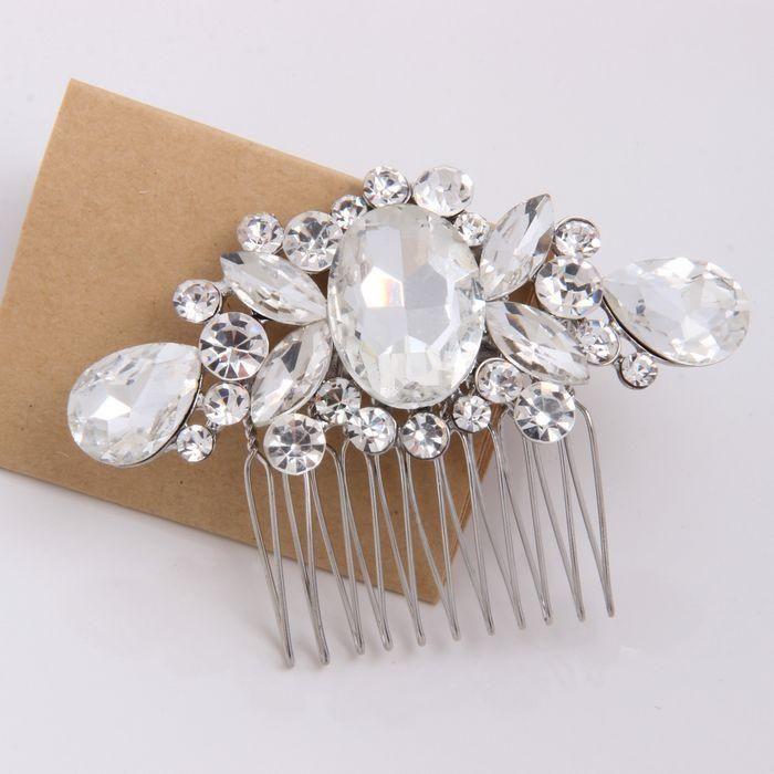 Crystal Wedding Hair Clip Bridal Combs Silver