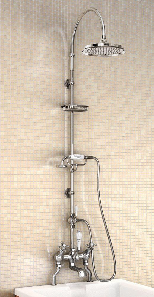 """Burlington Claremont Angled Bath Shower Mixer w Riser, Curved Arm, 9"""" Rose & Handset Large Image"""
