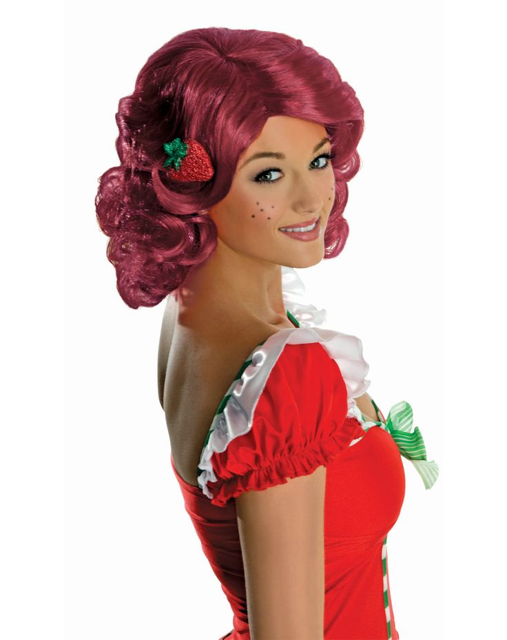 2499 create or complete your strawberry shortcake costume with this officially licensed strawberry shortcake adults red - Red Wigs For Halloween