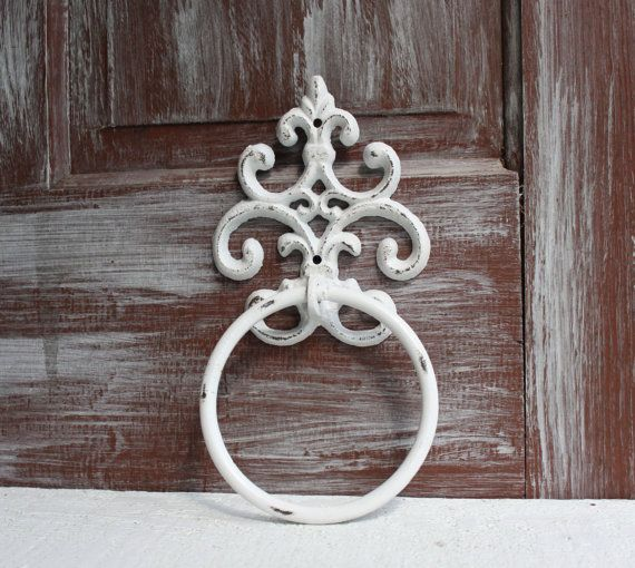 Towel Ring White Distressed Towel Holder Bathroom Decor Hand Towel Holder Towel