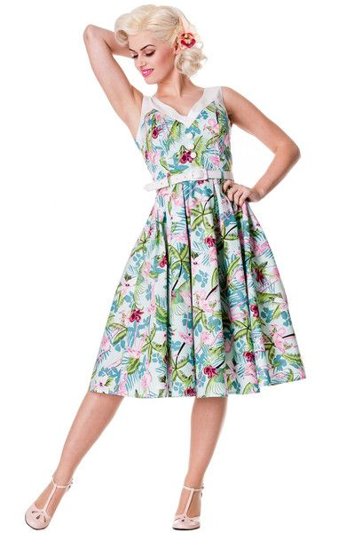 Larissa Hawaiian 50s style dress from Hell Bunny.  Lovely full circle skirt with a vibrant hibiscus and flamingo pattern