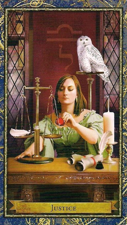 """Justice - Wizards Tarot - I like the bird, """"perspective"""""""