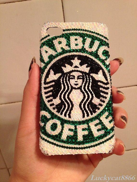 Starbucks Handmade rhinestone iphone 5 case, crystal iphone 4S case, iphone 4 case,birthday gift, iphone accessories i102 on Etsy, $29.59