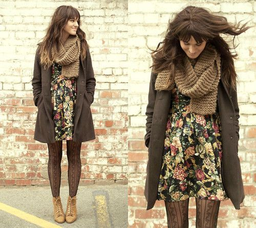 Floral dress with mild tone scarf and overcoat. Makes a great fall fashion look.