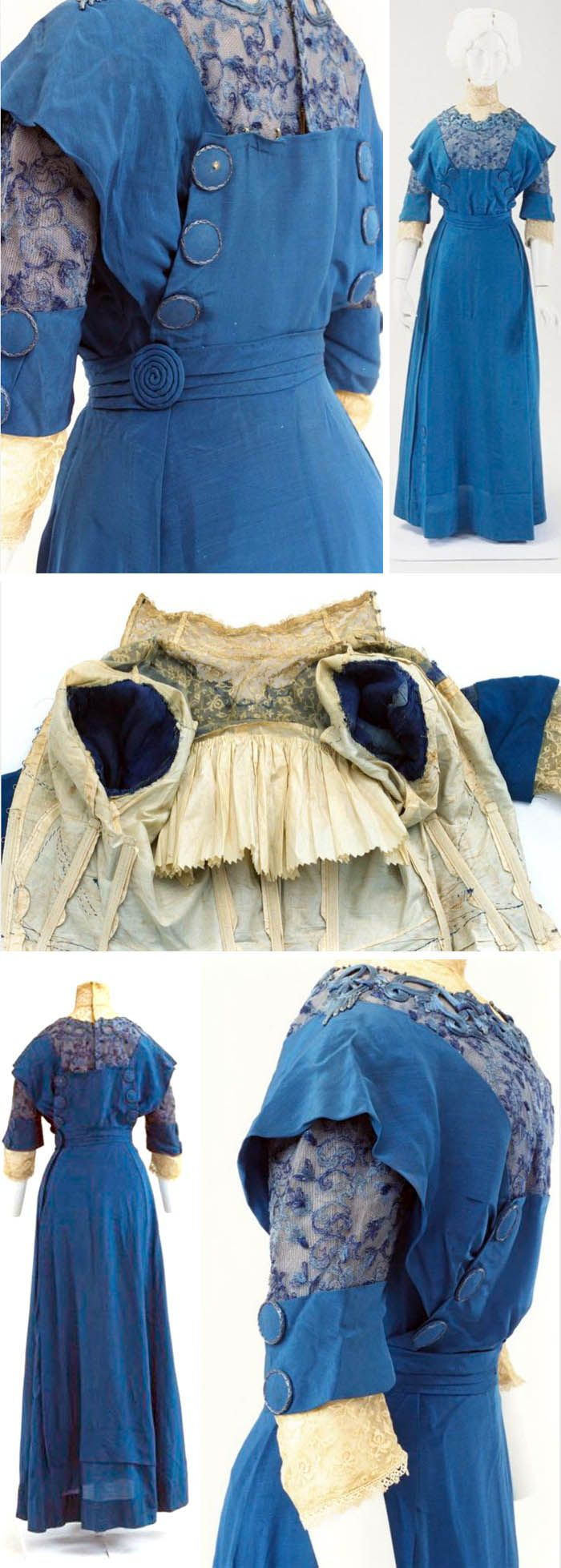 Early 1910s Day dress, European. Racing blue silk with ecru lace, embroidery, and large decorative walnut buttons. Via Bunka Gakuen Costume Museum.