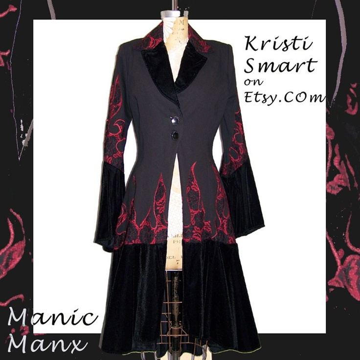 Vampire gothabilly hot rod flame coat by Kristi Smart manicmanx via etsy.