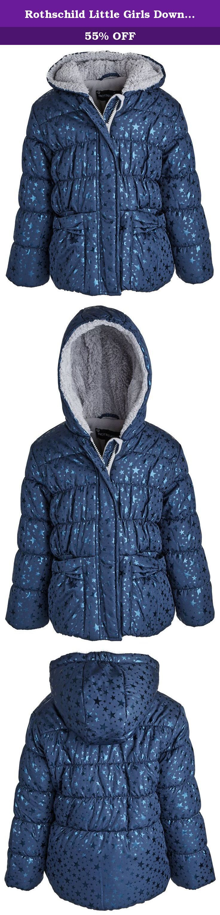 Rothschild Little Girls Down Alternative Fleece Winter Puffer Bubble Jacket Coat - Sapphire (size 2T). Bundle up your little angel in this lovely bubble jacket by Rothschild. Ultra soft back fleece lining along with its faux fur lined hood and thick filling will definitely help her cope those extreme weathers. All over star foil print and front bow pockets will surely please moms and daughters taste alike. Available in colors rubylight and sapphire and in sizes 2T to 6X.