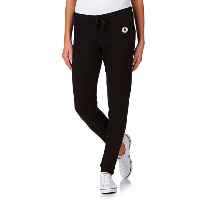 Converse Tracksuit Bottoms - Converse Core Fleece Rib Hem Pant Tracksuit Bottoms - Jet Black