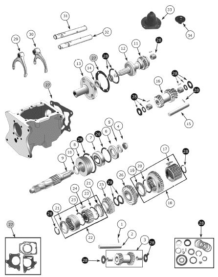T-150 Transmission Exploded View Diagram The Borg-Warner