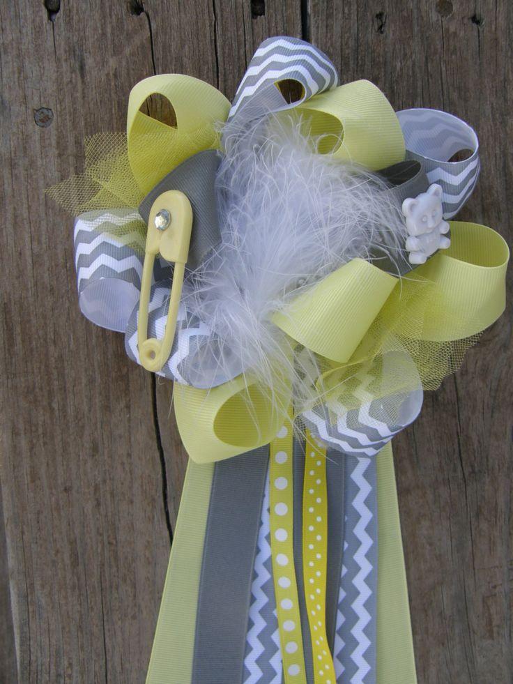 Baby Boy Shower Themes chervon   ... www.etsy.com/listing/124143557/chevron-baby-shower-corsage-baby-shower