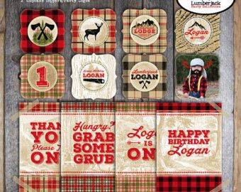 Lumberjack Party - Lumberjack Birthday Party -  Complete Collection - Signs, Banner, Favor Tags & More - Printable (Buffalo Plaid, Camping)