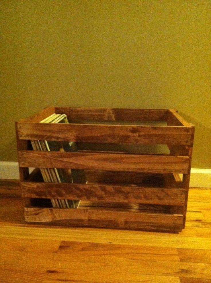 Vinyl Record Holder Wood Crate by Darlastudio66