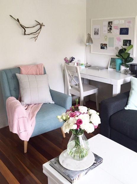 Sally Bay -interior design -interior decoration -home -loungeroom -styling -homewares -furniture -armchair -mint -navy -charcoal -floral -pink -throw -cushions -desk -office -kikki K -driftwood -artwork -architecture -fiddle leaf -mood board  Instagram: @sally_bay   Website: www.sallybay.com.au