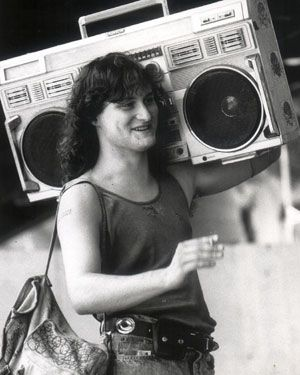 Yes, kids, this is how we carried our music around with us. No Ipod, or headphones.... Just a boombox.