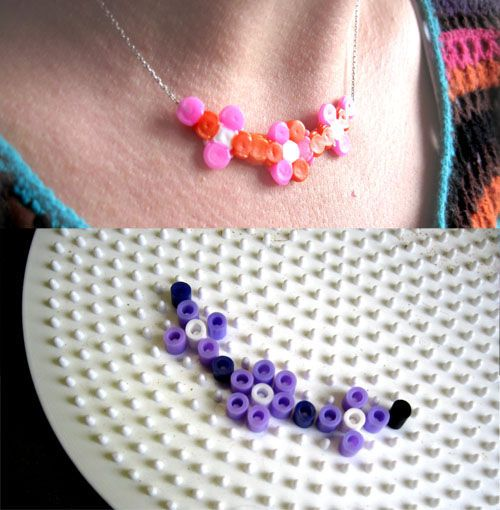 collier hama perler bead flower necklace - Perler Bead jewelry - Fuse bead designs - Perler Bead - Perler bead art - #perlerbead
